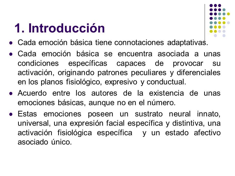 1. Introducción Cada emoción básica tiene connotaciones adaptativas. Cada emoción básica se encuentra asociada a unas condiciones específicas capaces