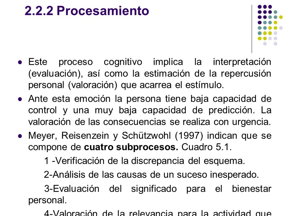 2.2.2 Procesamiento Este proceso cognitivo implica la interpretación (evaluación), así como la estimación de la repercusión personal (valoración) que