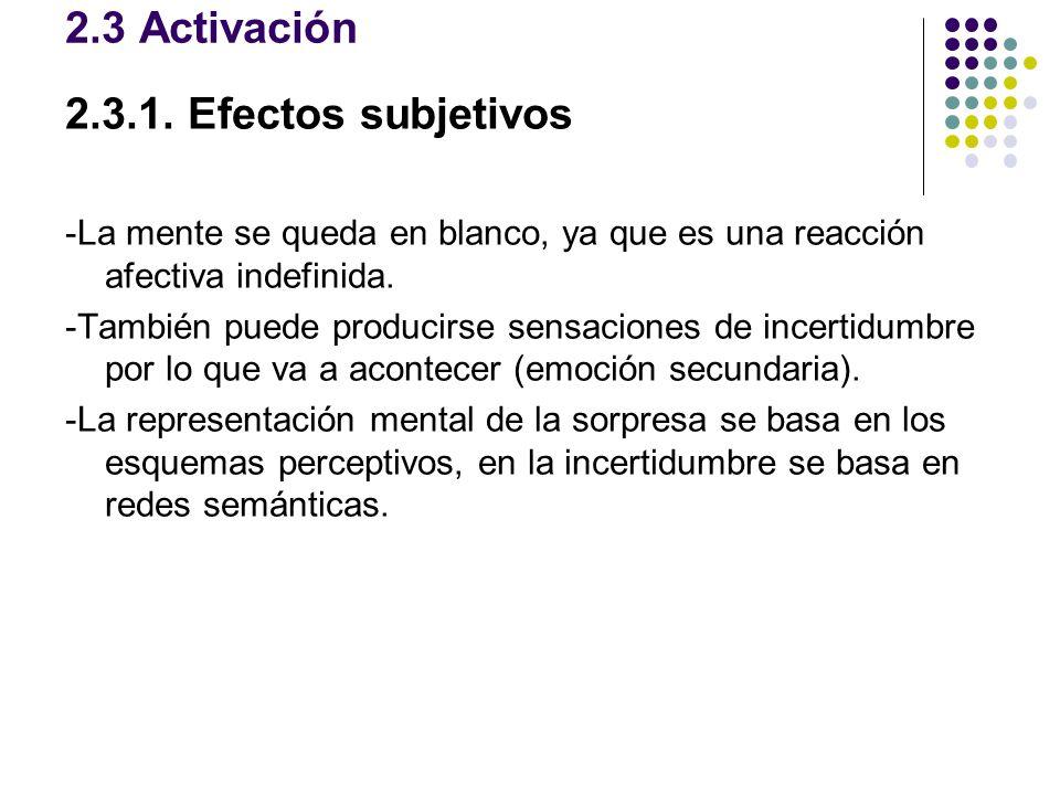 2.3 Activación 2.3.1. Efectos subjetivos -La mente se queda en blanco, ya que es una reacción afectiva indefinida. -También puede producirse sensacion