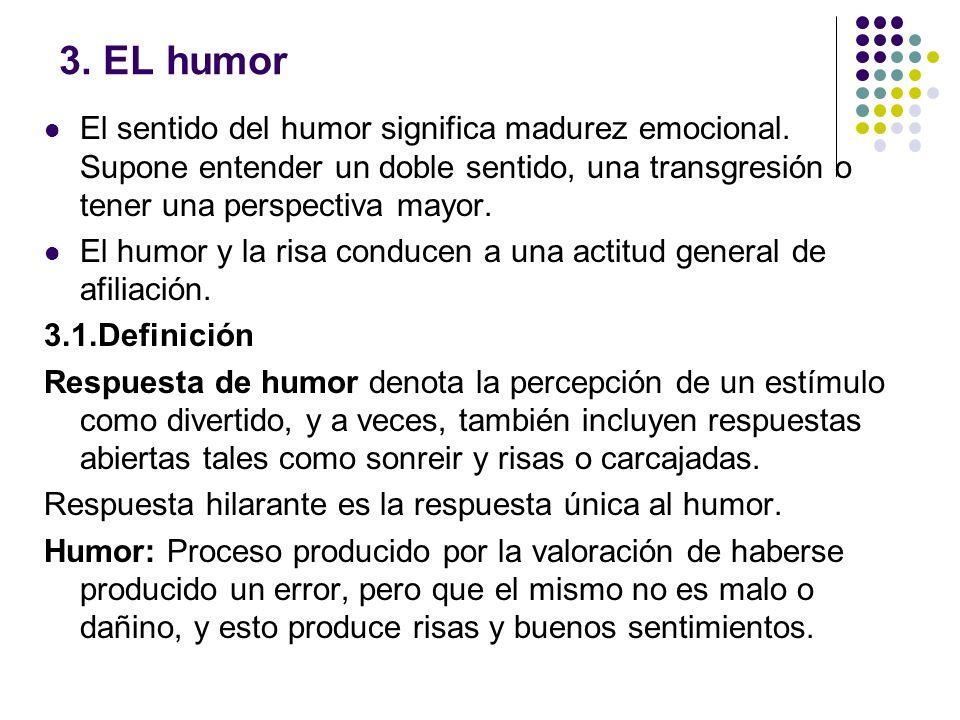 3. EL humor El sentido del humor significa madurez emocional. Supone entender un doble sentido, una transgresión o tener una perspectiva mayor. El hum