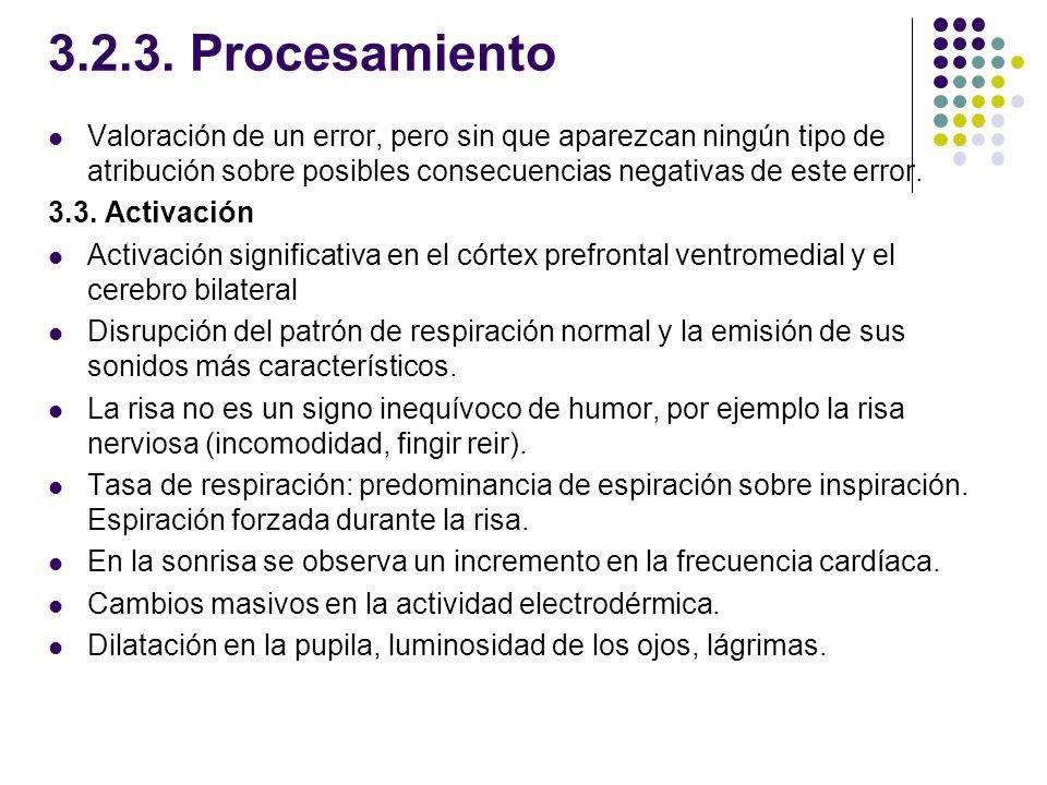 3.2.3. Procesamiento Valoración de un error, pero sin que aparezcan ningún tipo de atribución sobre posibles consecuencias negativas de este error. 3.