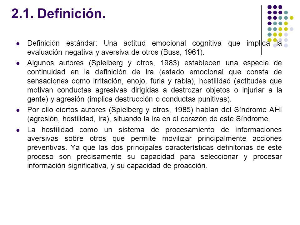 2.1. Definición. Definición estándar: Una actitud emocional cognitiva que implica la evaluación negativa y aversiva de otros (Buss, 1961). Algunos aut