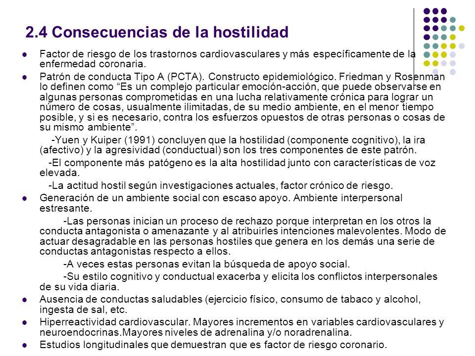 2.4 Consecuencias de la hostilidad Factor de riesgo de los trastornos cardiovasculares y más específicamente de la enfermedad coronaria. Patrón de con