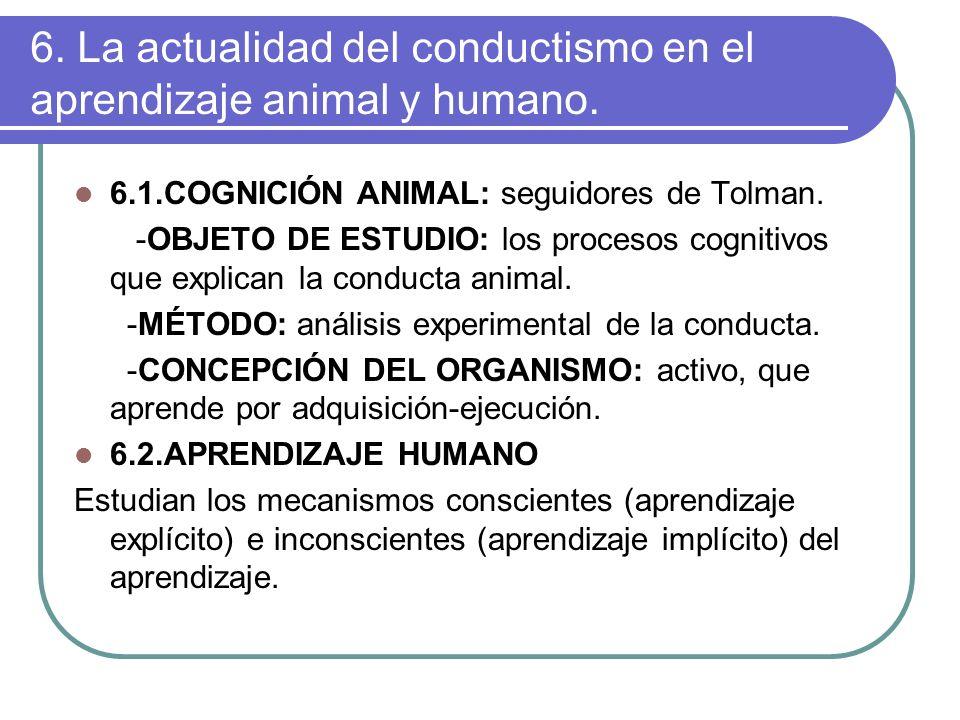 6. La actualidad del conductismo en el aprendizaje animal y humano. 6.1.COGNICIÓN ANIMAL: seguidores de Tolman. -OBJETO DE ESTUDIO: los procesos cogni