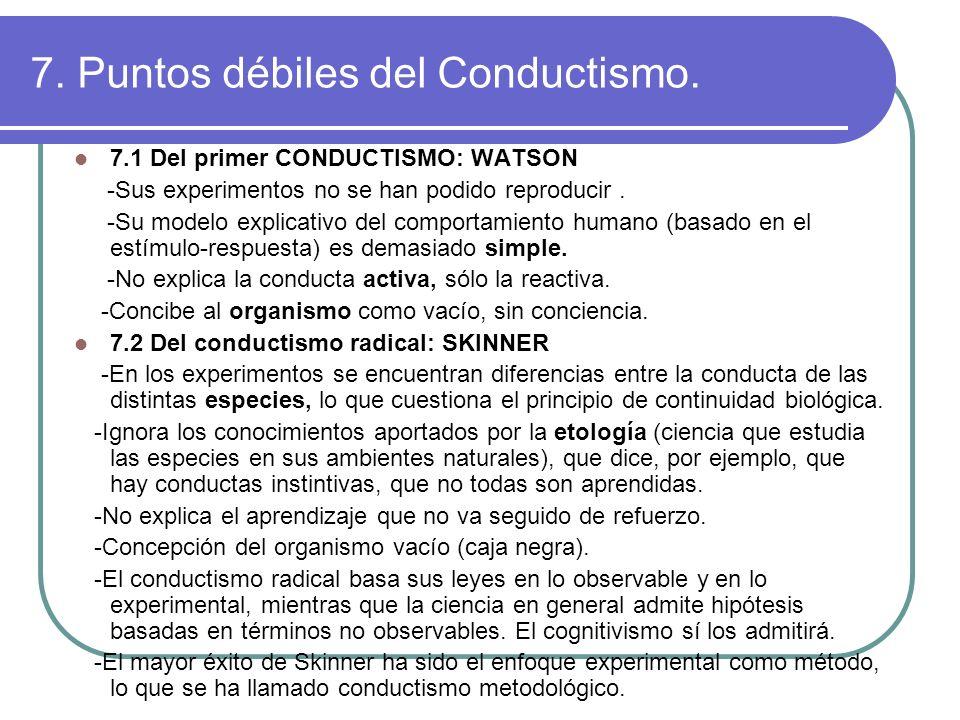 7. Puntos débiles del Conductismo. 7.1 Del primer CONDUCTISMO: WATSON -Sus experimentos no se han podido reproducir. -Su modelo explicativo del compor