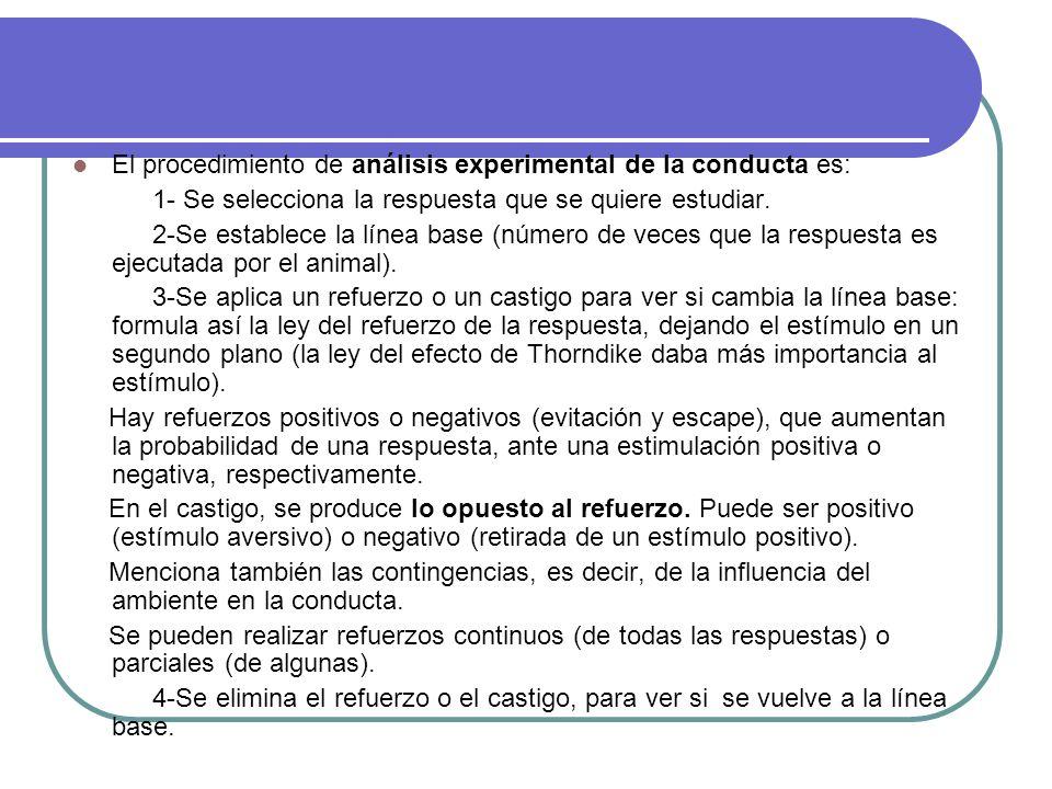 El procedimiento de análisis experimental de la conducta es: 1- Se selecciona la respuesta que se quiere estudiar. 2-Se establece la línea base (númer
