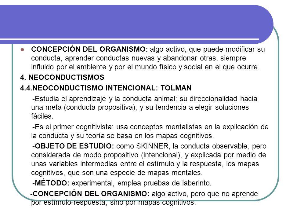 CONCEPCIÓN DEL ORGANISMO: algo activo, que puede modificar su conducta, aprender conductas nuevas y abandonar otras, siempre influido por el ambiente