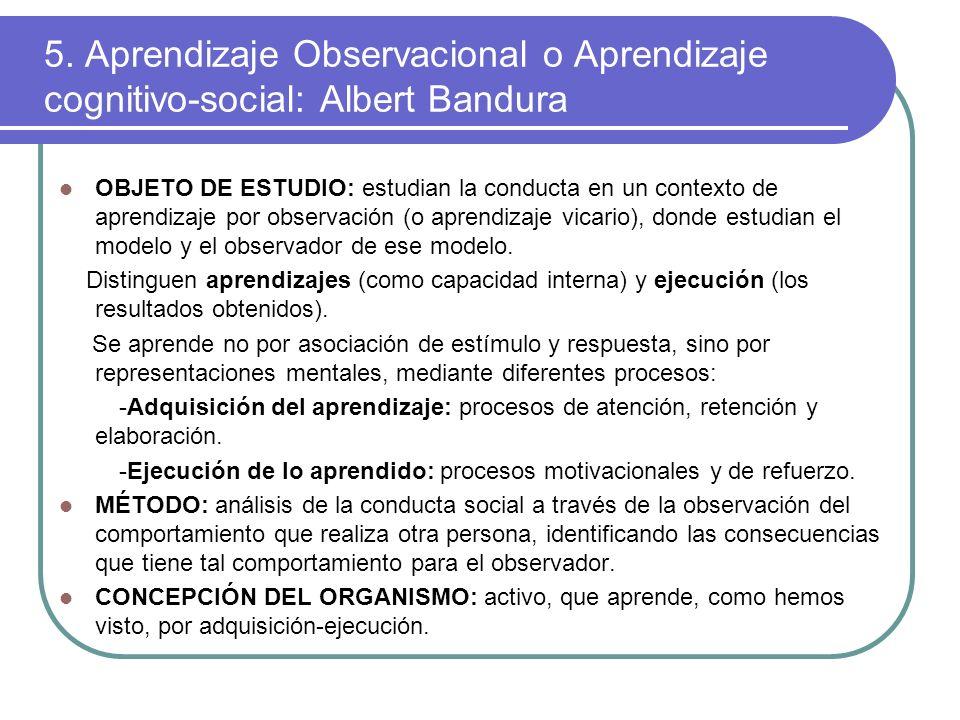 5. Aprendizaje Observacional o Aprendizaje cognitivo-social: Albert Bandura OBJETO DE ESTUDIO: estudian la conducta en un contexto de aprendizaje por