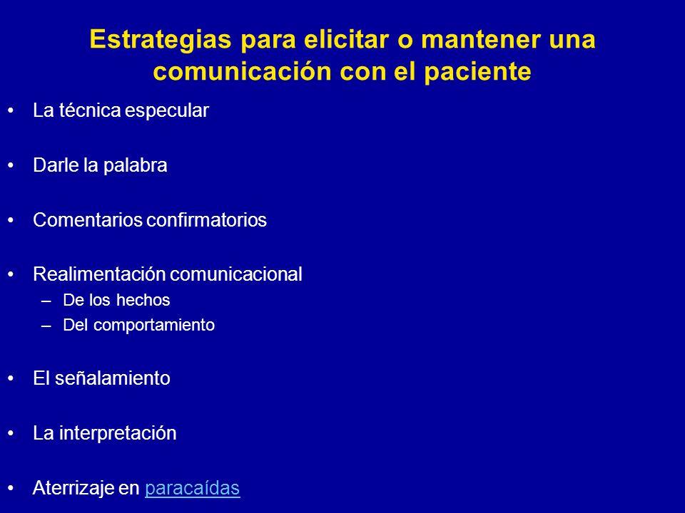 La técnica especular Darle la palabra Comentarios confirmatorios Realimentación comunicacional –De los hechos –Del comportamiento El señalamiento La i
