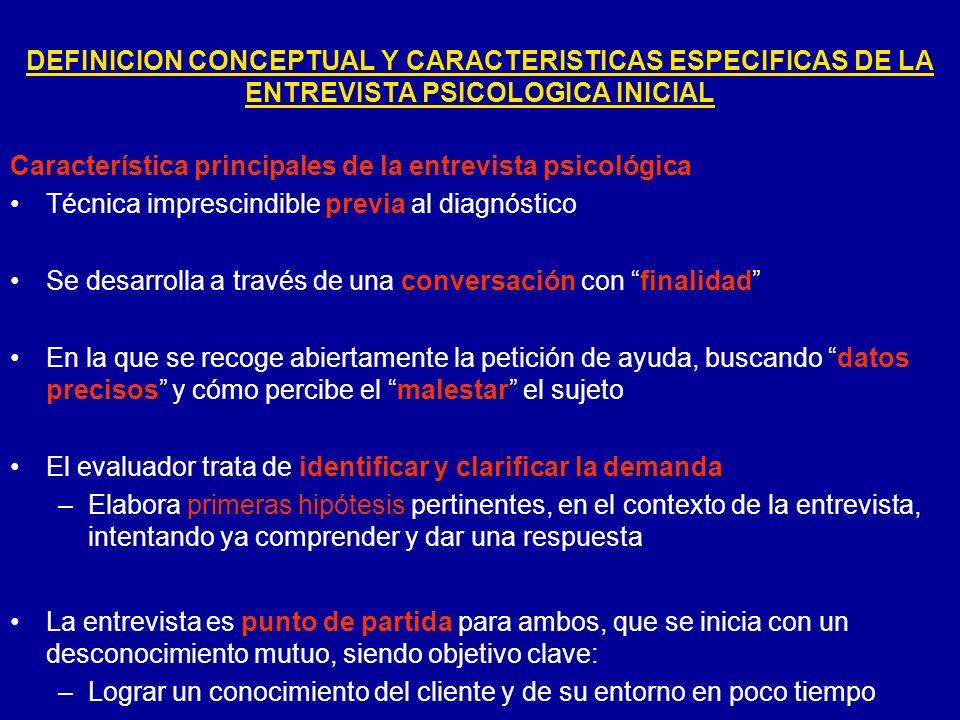 Característica principales de la entrevista psicológica Técnica imprescindible previa al diagnóstico Se desarrolla a través de una conversación con fi