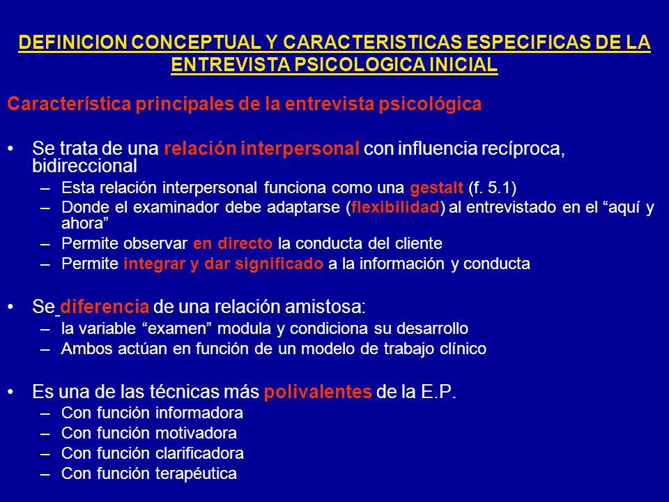 Característica principales de la entrevista psicológica Se trata de una relación interpersonal con influencia recíproca, bidireccional –Esta relación