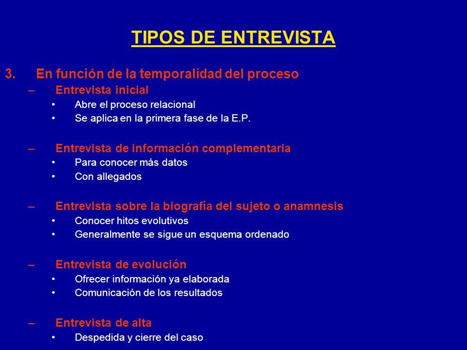 3.En función de la temporalidad del proceso –Entrevista inicial Abre el proceso relacional Se aplica en la primera fase de la E.P. –Entrevista de info
