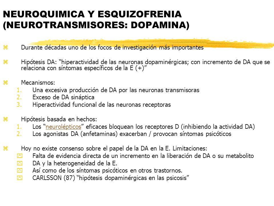NEUROQUIMICA Y ESQUIZOFRENIA (NEUROTRANSMISORES: DOPAMINA) zDurante décadas uno de los focos de investigación más importantes zHipótesis DA: hiperacti