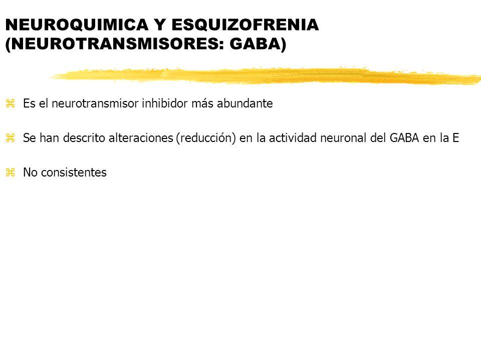 zEs el neurotransmisor inhibidor más abundante zSe han descrito alteraciones (reducción) en la actividad neuronal del GABA en la E zNo consistentes NEUROQUIMICA Y ESQUIZOFRENIA (NEUROTRANSMISORES: GABA)