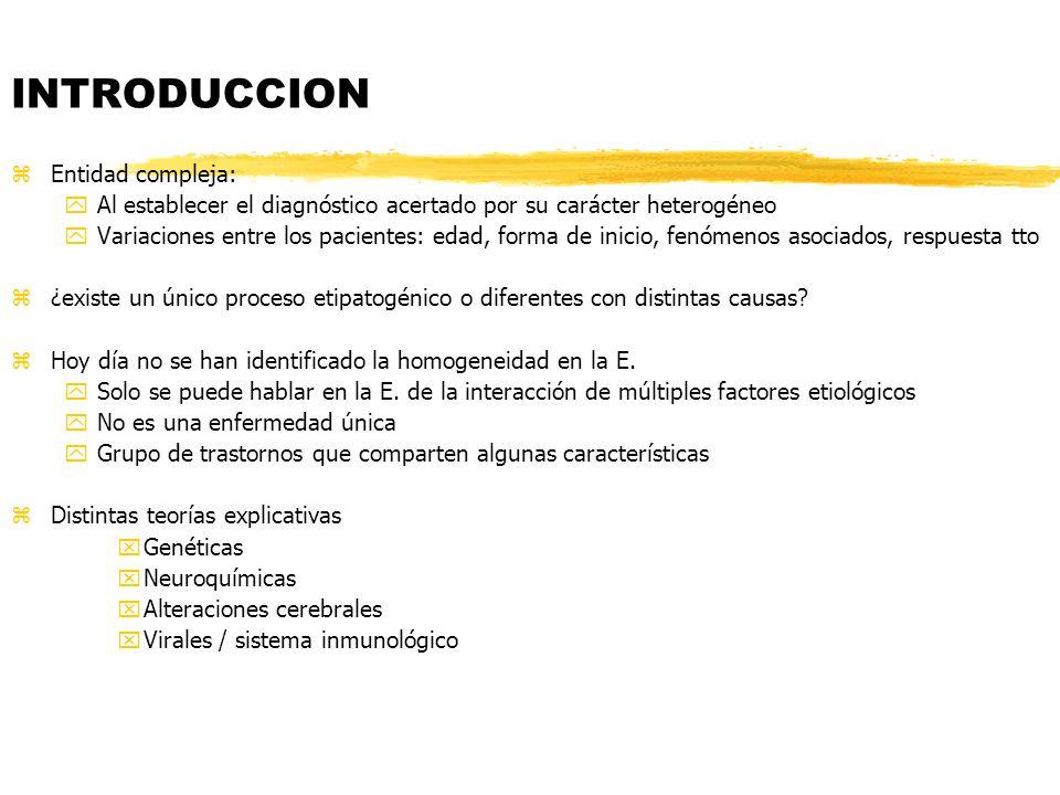 INTRODUCCION zEntidad compleja: yAl establecer el diagnóstico acertado por su carácter heterogéneo yVariaciones entre los pacientes: edad, forma de in