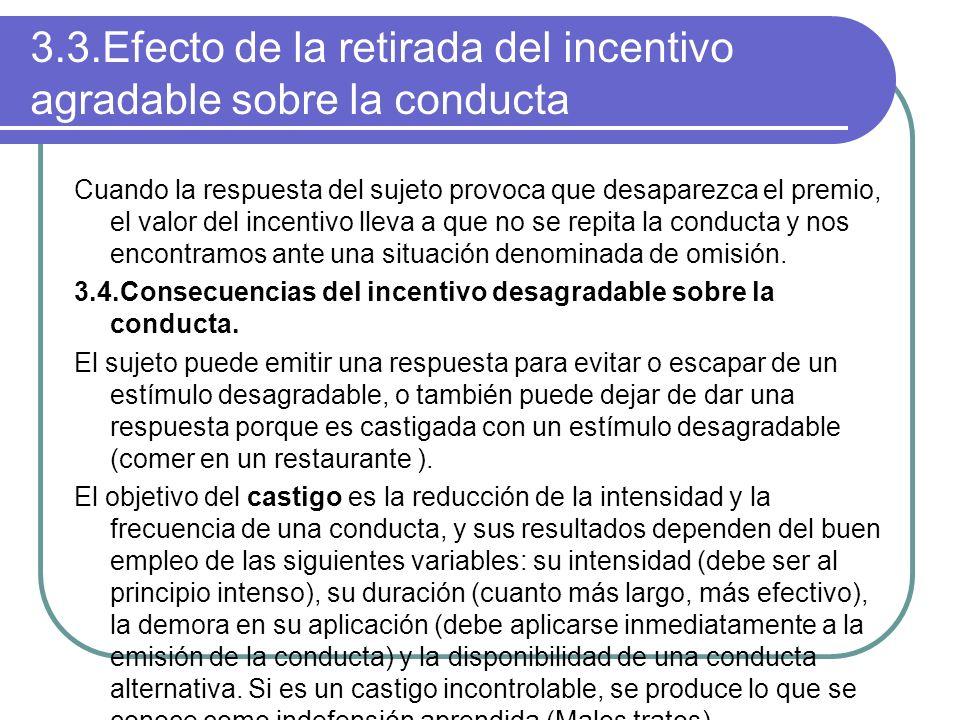 3.3.Efecto de la retirada del incentivo agradable sobre la conducta Cuando la respuesta del sujeto provoca que desaparezca el premio, el valor del inc
