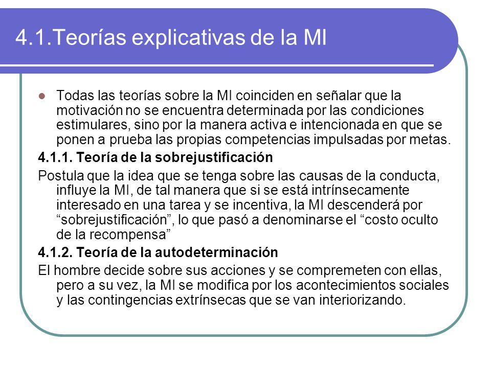 4.1.Teorías explicativas de la MI Todas las teorías sobre la MI coinciden en señalar que la motivación no se encuentra determinada por las condiciones