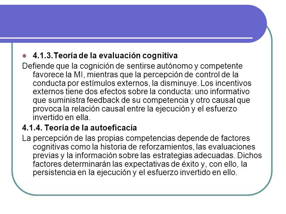 4.1.3.Teoría de la evaluación cognitiva Defiende que la cognición de sentirse autónomo y competente favorece la MI, mientras que la percepción de cont