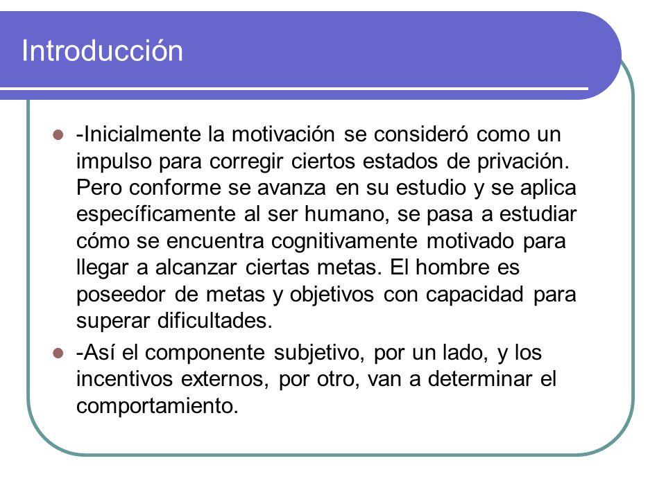 Introducción -Inicialmente la motivación se consideró como un impulso para corregir ciertos estados de privación. Pero conforme se avanza en su estudi