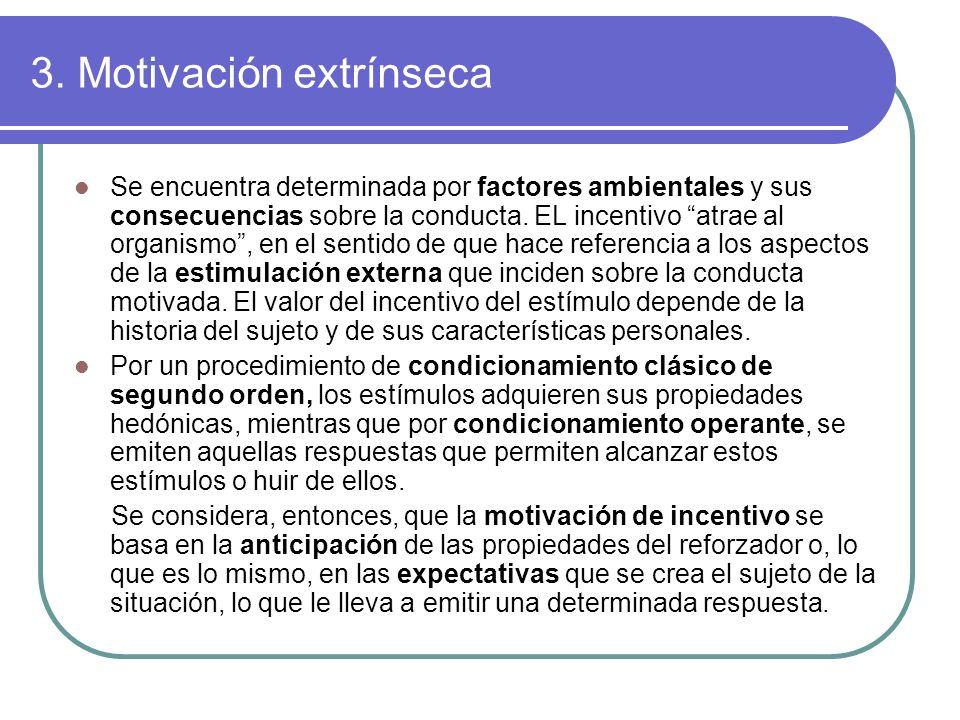 3. Motivación extrínseca Se encuentra determinada por factores ambientales y sus consecuencias sobre la conducta. EL incentivo atrae al organismo, en