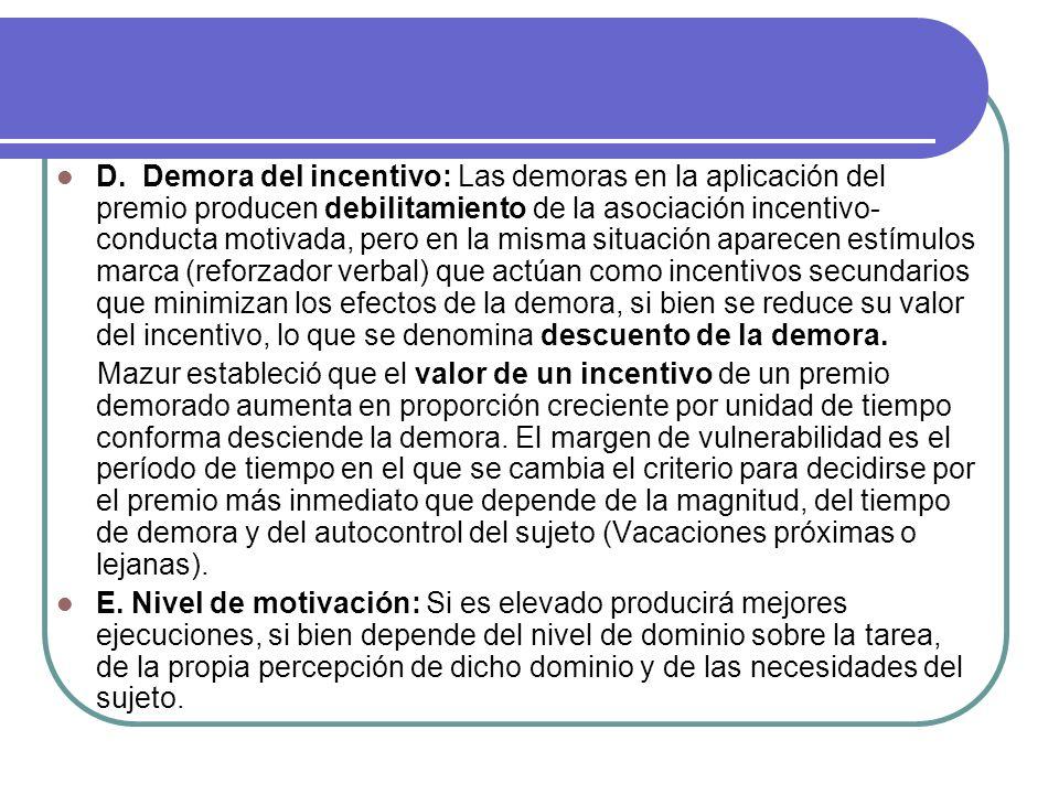 D. Demora del incentivo: Las demoras en la aplicación del premio producen debilitamiento de la asociación incentivo- conducta motivada, pero en la mis