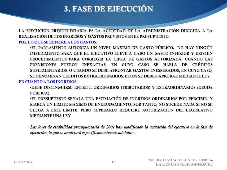3. FASE DE EJECUCIÓN LA EJECUCIÓN PRESUPUESTARIA ES LA ACTIVIDAD DE LA ADMINISTRACIÓN DIRIGIDA A LA REALIZACIÓN DE LOS INGRESOS Y GASTOS PREVISTOS EN