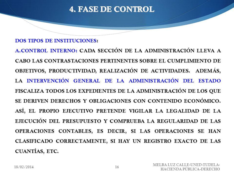4. FASE DE CONTROL DOS TIPOS DE INSTITUCIONES: A.CONTROL INTERNO: CADA SECCIÓN DE LA ADMINISTRACIÓN LLEVA A CABO LAS CONTRASTACIONES PERTINENTES SOBRE