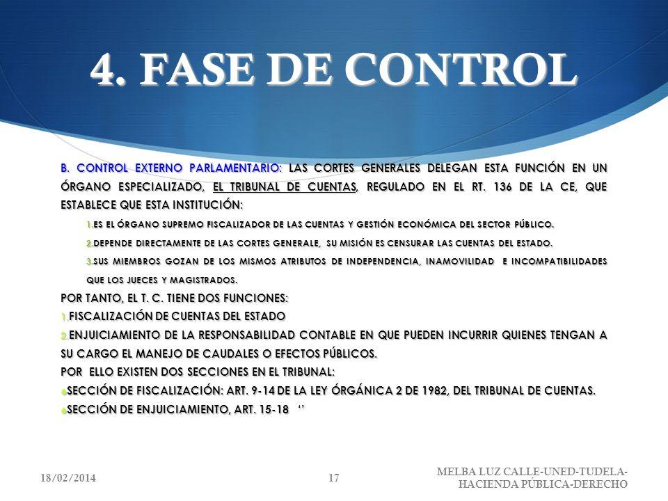 4. FASE DE CONTROL B. CONTROL EXTERNO PARLAMENTARIO: LAS CORTES GENERALES DELEGAN ESTA FUNCIÓN EN UN ÓRGANO ESPECIALIZADO, EL TRIBUNAL DE CUENTAS, REG