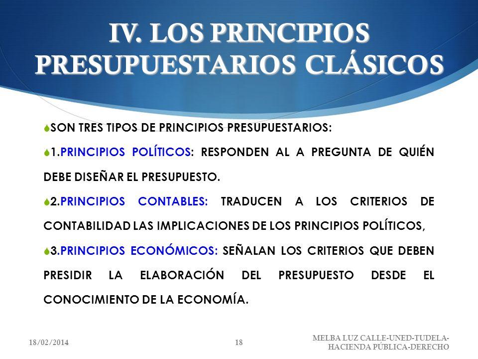 IV. LOS PRINCIPIOS PRESUPUESTARIOS CLÁSICOS SON TRES TIPOS DE PRINCIPIOS PRESUPUESTARIOS: 1.PRINCIPIOS POLÍTICOS: RESPONDEN AL A PREGUNTA DE QUIÉN DEB