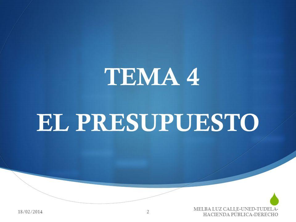 TEMA 4 EL PRESUPUESTO 18/02/20142 MELBA LUZ CALLE-UNED-TUDELA- HACIENDA PÚBLICA-DERECHO