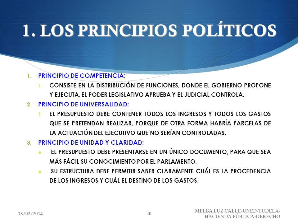1. LOS PRINCIPIOS POLÍTICOS 1. PRINCIPIO DE COMPETENCIA: 1. CONSISTE EN LA DISTRIBUCIÓN DE FUNCIONES, DONDE EL GOBIERNO PROPONE Y EJECUTA, EL PODER LE