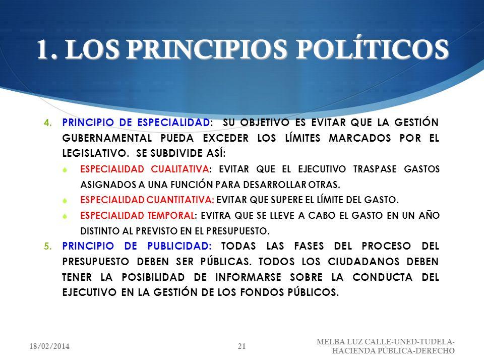 1. LOS PRINCIPIOS POLÍTICOS 4. PRINCIPIO DE ESPECIALIDAD: SU OBJETIVO ES EVITAR QUE LA GESTIÓN GUBERNAMENTAL PUEDA EXCEDER LOS LÍMITES MARCADOS POR EL
