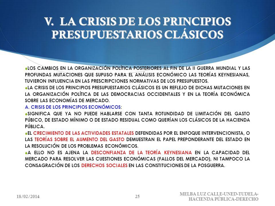 V. LA CRISIS DE LOS PRINCIPIOS PRESUPUESTARIOS CLÁSICOS LOS CAMBIOS EN LA ORGANIZACIÓN POLÍTICA POSTERIORES AL FIN DE LA II GUERRA MUNDIAL Y LAS PROFU