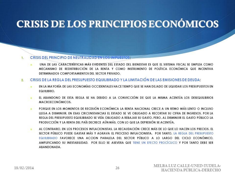 CRISIS DE LOS PRINCIPIOS ECONÓMICOS 1. CRISIS DEL PRINCIPIO DE NEUTRALIDAD EN LOS IMPUESTOS: UNA DE LAS CARACTERÍSTICAS MÁS EVIDENTES DEL ESTADO DEL B