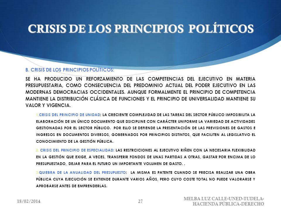 CRISIS DE LOS PRINCIPIOS POLÍTICOS B. CRISIS DE LOS PRINCIPIOS POLÍTICOS: SE HA PRODUCIDO UN REFORZAMIENTO DE LAS COMPETENCIAS DEL EJECUTIVO EN MATERI