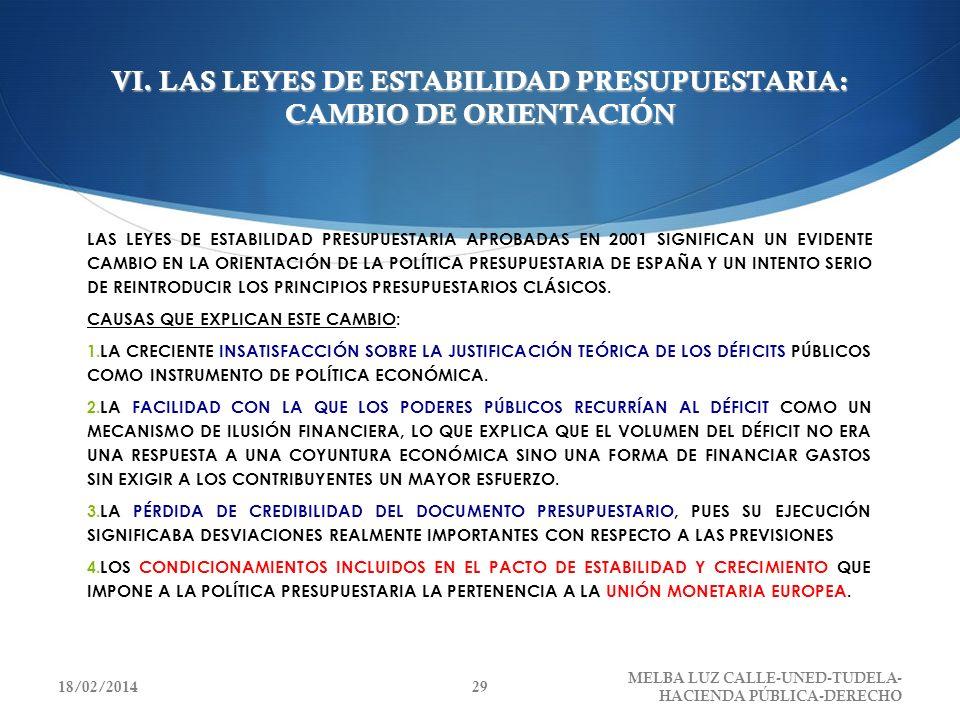 VI. LAS LEYES DE ESTABILIDAD PRESUPUESTARIA: CAMBIO DE ORIENTACIÓN LAS LEYES DE ESTABILIDAD PRESUPUESTARIA APROBADAS EN 2001 SIGNIFICAN UN EVIDENTE CA