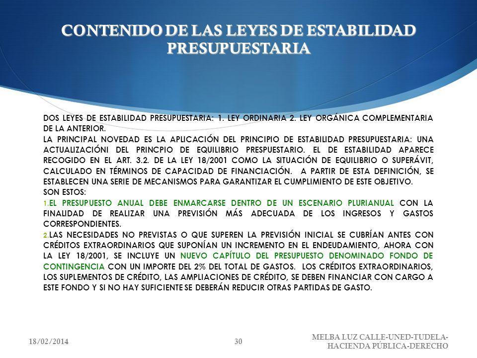 CONTENIDO DE LAS LEYES DE ESTABILIDAD PRESUPUESTARIA DOS LEYES DE ESTABILIDAD PRESUPUESTARIA: 1. LEY ORDINARIA 2. LEY ORGÁNICA COMPLEMENTARIA DE LA AN
