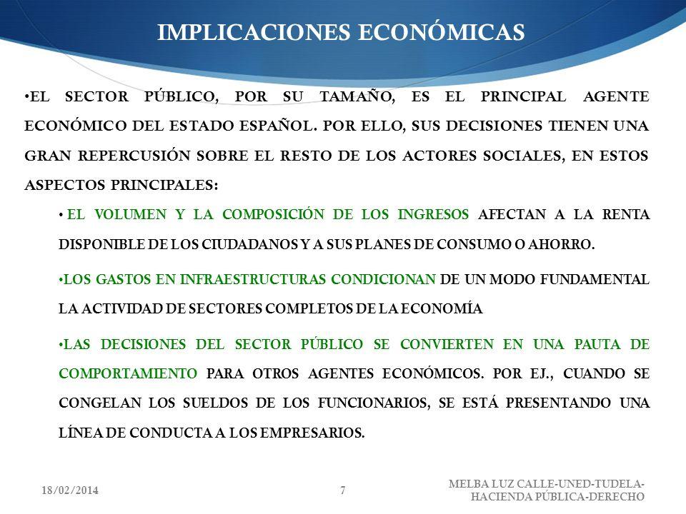 IMPLICACIONES ECONÓMICAS EL SECTOR PÚBLICO, POR SU TAMAÑO, ES EL PRINCIPAL AGENTE ECONÓMICO DEL ESTADO ESPAÑOL. POR ELLO, SUS DECISIONES TIENEN UNA GR