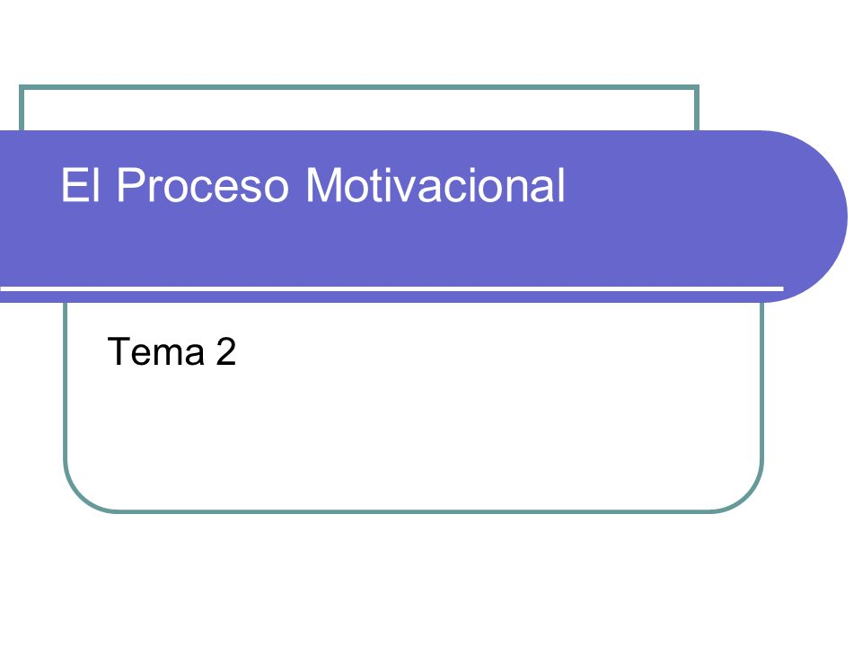 El Proceso Motivacional Tema 2