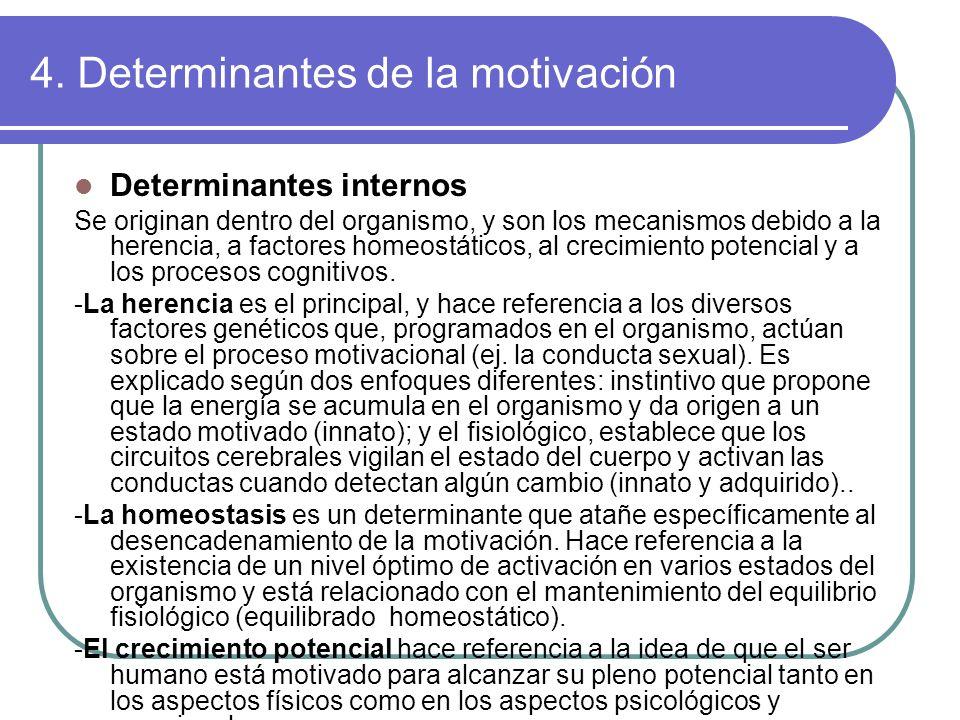 4. Determinantes de la motivación Determinantes internos Se originan dentro del organismo, y son los mecanismos debido a la herencia, a factores homeo
