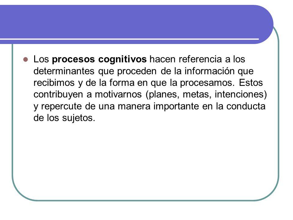 Los procesos cognitivos hacen referencia a los determinantes que proceden de la información que recibimos y de la forma en que la procesamos. Estos co