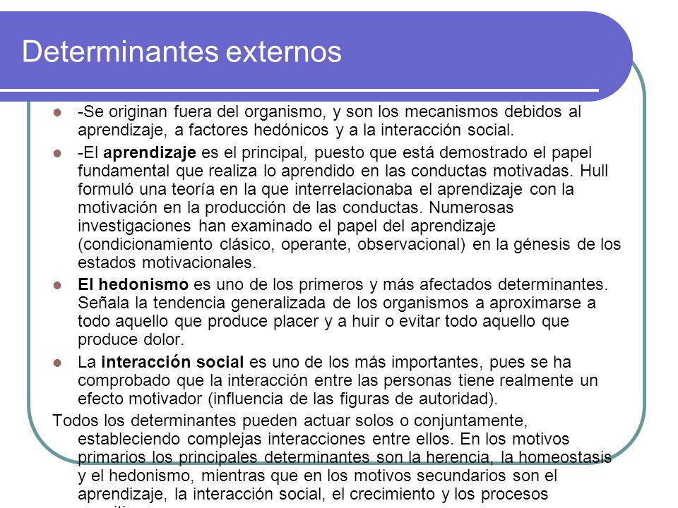 Determinantes externos -Se originan fuera del organismo, y son los mecanismos debidos al aprendizaje, a factores hedónicos y a la interacción social.