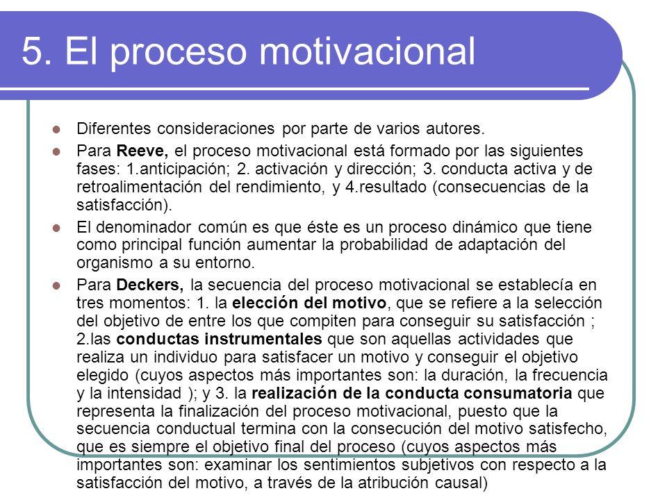 5. El proceso motivacional Diferentes consideraciones por parte de varios autores. Para Reeve, el proceso motivacional está formado por las siguientes