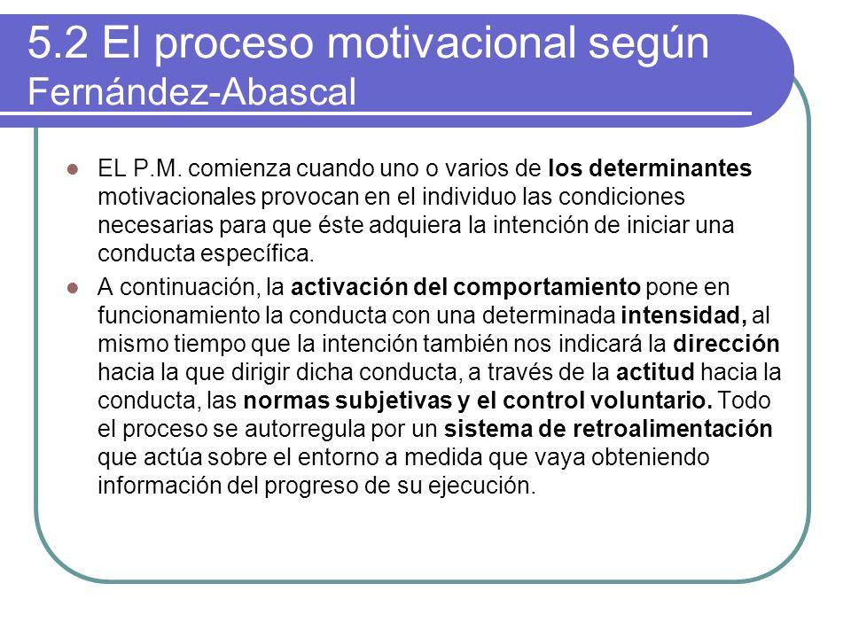5.2 El proceso motivacional según Fernández-Abascal EL P.M. comienza cuando uno o varios de los determinantes motivacionales provocan en el individuo