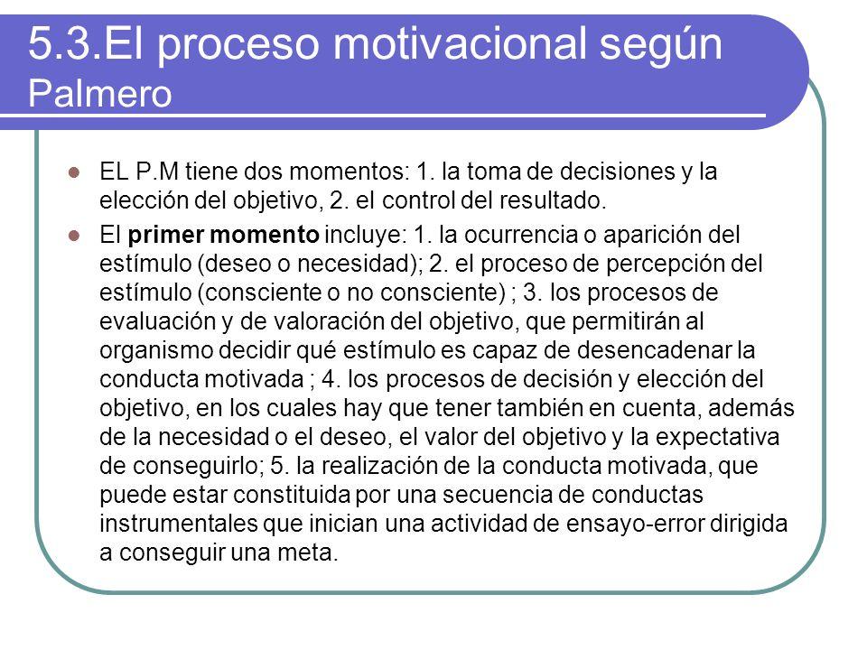 5.3.El proceso motivacional según Palmero EL P.M tiene dos momentos: 1. la toma de decisiones y la elección del objetivo, 2. el control del resultado.
