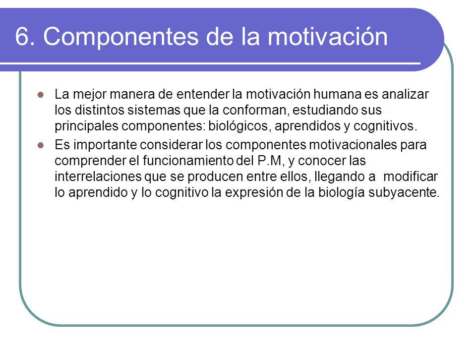 6. Componentes de la motivación La mejor manera de entender la motivación humana es analizar los distintos sistemas que la conforman, estudiando sus p