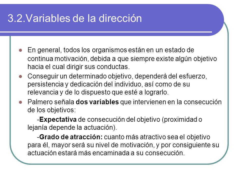 3.2.Variables de la dirección En general, todos los organismos están en un estado de continua motivación, debida a que siempre existe algún objetivo h