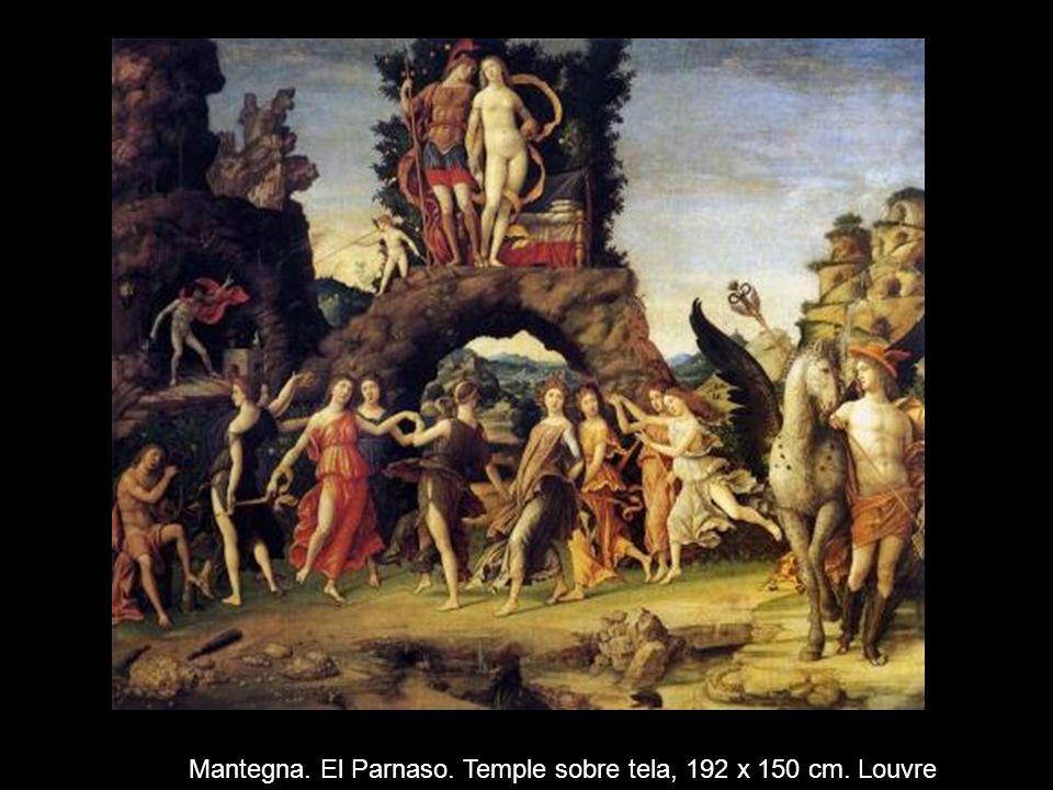 Mantegna. El Parnaso. Temple sobre tela, 192 x 150 cm. Louvre