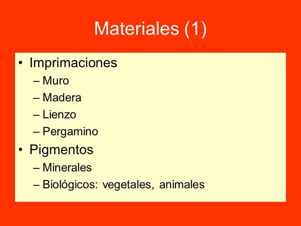 Materiales (2) Aglutinantes –Alberga el pigmento y lo fija al soporte –Se fijarse sólidamente al soporte –Tipos Cal – Enlucido de muros Huevo - Temple Aceite - Óleo Cera - Encáustica