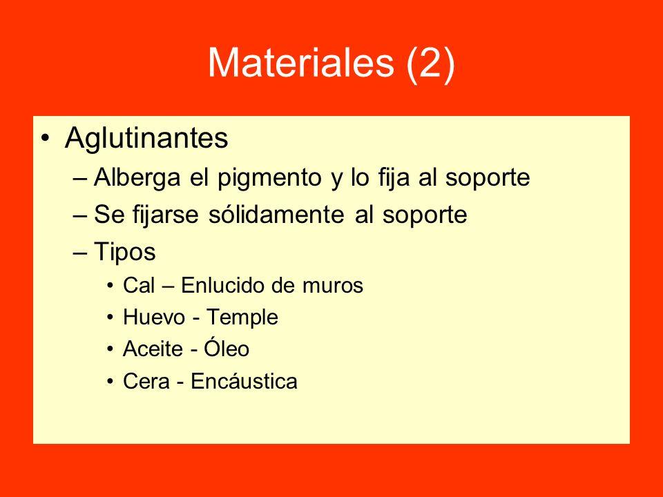 Materiales (2) Aglutinantes –Alberga el pigmento y lo fija al soporte –Se fijarse sólidamente al soporte –Tipos Cal – Enlucido de muros Huevo - Temple